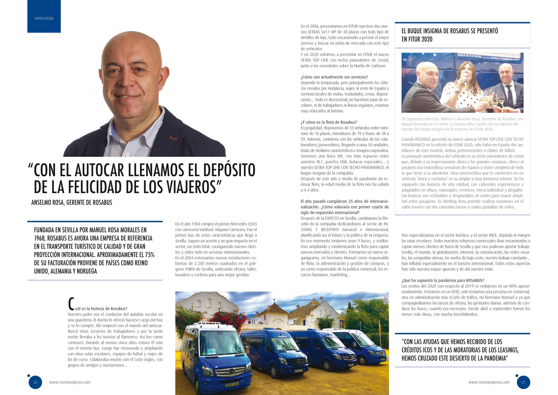 Entrevista a Anselmo Rosa, CEO de Rosabus, en la revista Viajeros